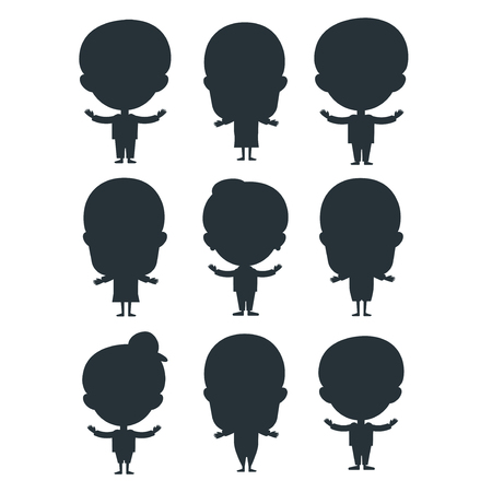 Kids silhouette happy young expression cute teenager cartoon character little kid vector illustration. Illustration