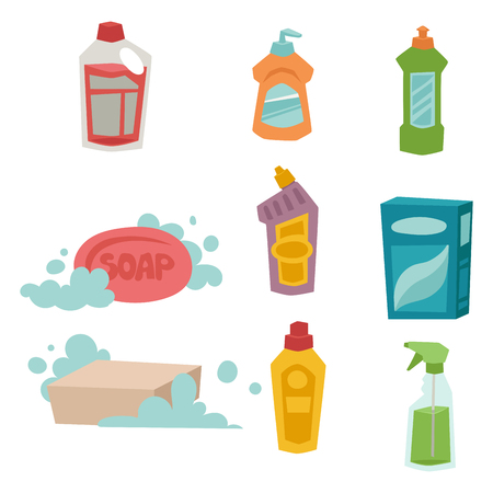 Cleanser bottle chemical housework product and care wash plastic equipment cleaning liquid flat vector illustration. Hygiene domestic container toiletries household tool. Ilustração