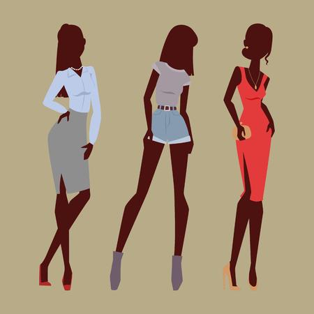 Mode modellen vrouw silhouet schets aantrekkelijke kleding dame elegante volwassen karakter vector illustratie. Sensuele figuur modieuze glamour schoonheids mensen.