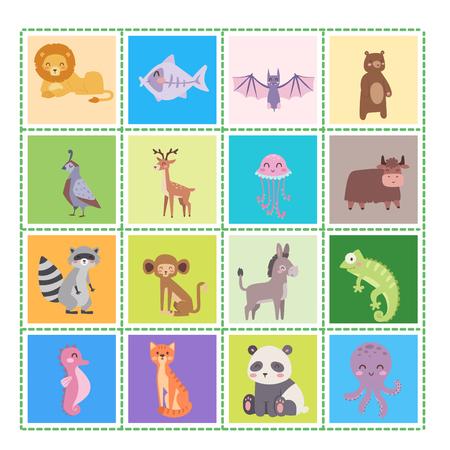 Cute animaux de bande dessinée de zoo isolés animaux sauvages drôles apprennent la langue mignonne et la nature tropicale safari mammifère jungle grands personnages illustration vectorielle. Banque d'images - 78500709