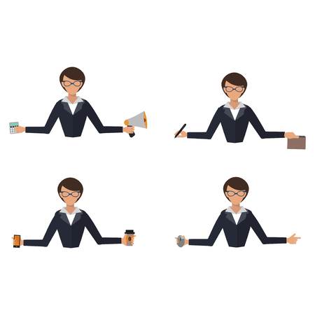 Business woman office job stress work vector illustration person manager character Illustration