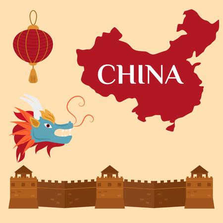 万里の長城北京アジア ランドマーク レンガ建築文化歴史ベクトル イラスト。