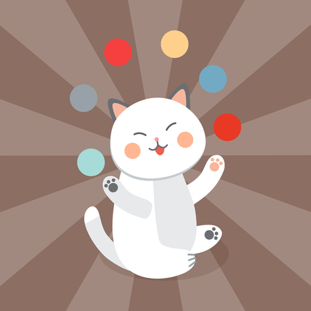 Circus cat vector cheerful illustration for kids with little domestic cartoon animals playing mammal Illustration