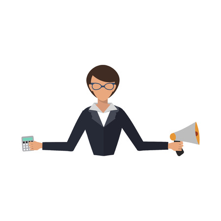 salesman: Business woman office job stress work vector illustration person manager character Illustration