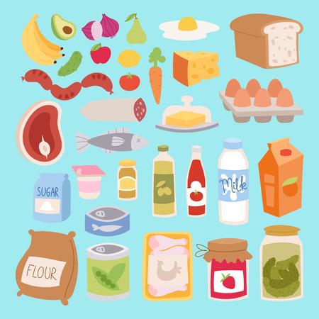 日常食品アイコン パッチワーク ベクトル。