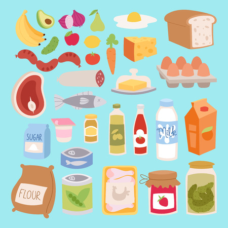 cooking oil: Everyday food icons patchwork vector. Illustration