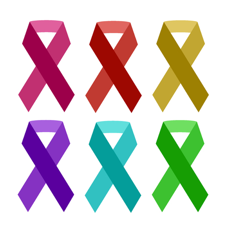 Colorful aids ribbon isolated on white vector awareness ribbon aids hiv symbol charity element Illustration