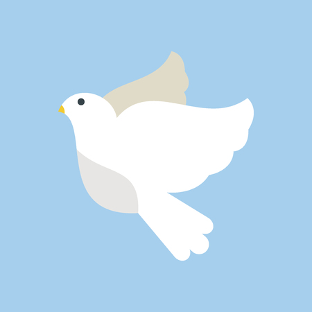 Paloma Volando Ilustración Vectorial De Aves De Dibujos Animados