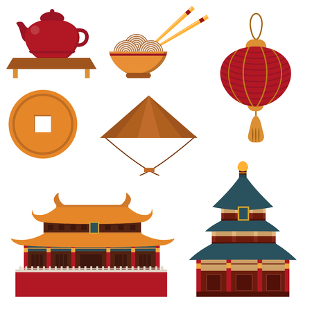 monete antiche: Chinese asian oriental decoration sightseeing festival gold ancient traditional culture vector illustration.