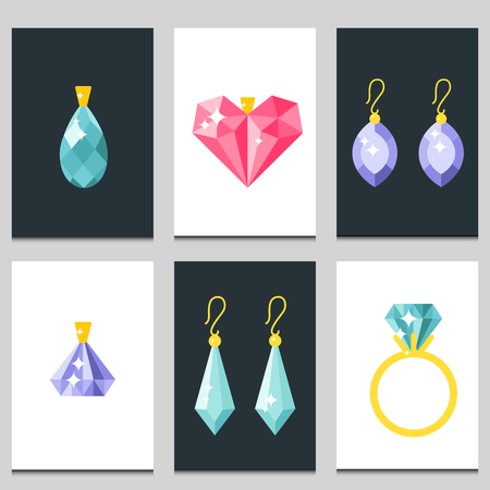 Vector jewelry items gold cards elegance gemstones precious accessories fashion illustration Ilustração