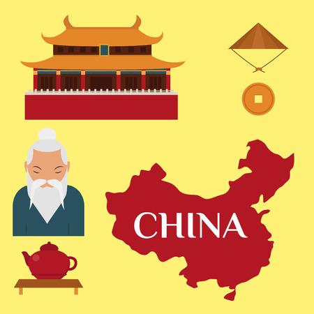Chinese Aziatische oosterse decoratie sightseeing festival gouden oude traditionele cultuur vectorillustratie. Stock Illustratie