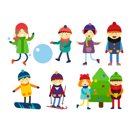 Christmas kids playing winter games skiing sledding cartoon new year winter holidays characters vector illustration.