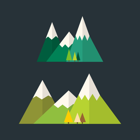 Mountain nature outdoor icon snow ice tops travel climbing or hiking geology vector illustration.