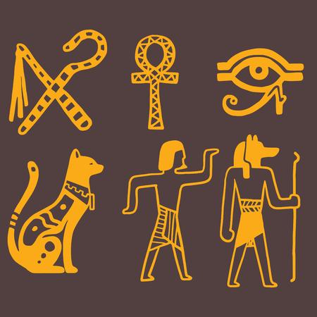 antiquities: Egypt travel history sybols hand drawn design traditional hieroglyph vector illustration style.