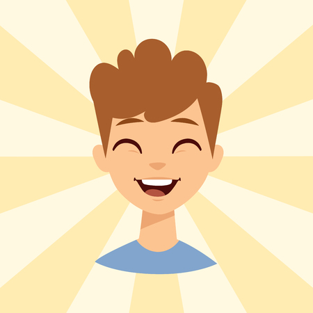 Young man smiling person caucasian attractive portrait cheerful male character vector illustration.
