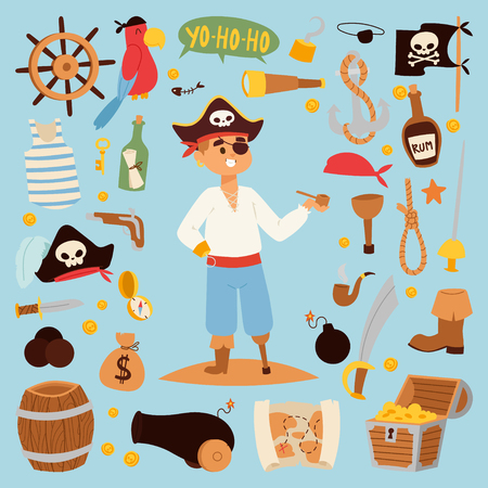Pirate stickers iconen vector. Stock Illustratie