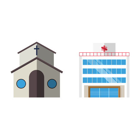 Cartoon church facade vector illustration cathedral exterior christianity architecture.