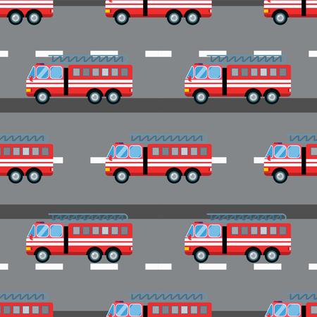 Fire truck car vector illustration seamless pattern cartoon fast emergency service transportation