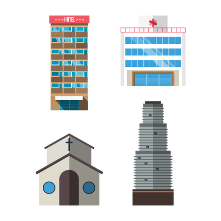 Downtown skyscraper hotel on shiny glass facades modern flat style vector illustration