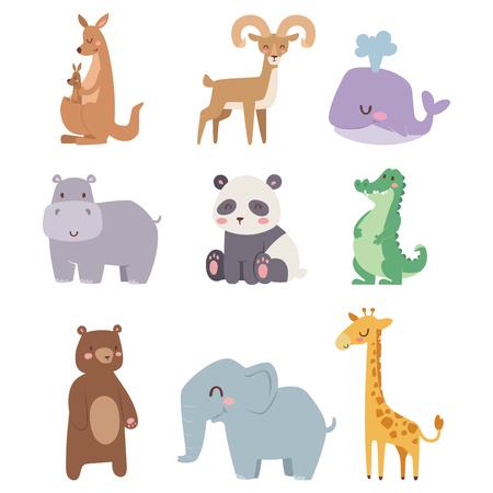 Cute animaux de bande dessinée de zoo isolés animaux sauvages drôles apprennent la langue mignonne et la nature tropicale safari mammifère jungle grands personnages illustration vectorielle. Banque d'images - 78740024