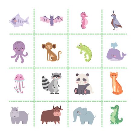 Cute zoo cartoon animals isolated funny wildlife.