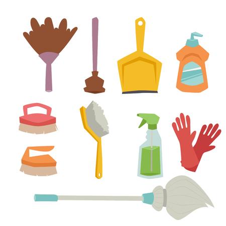 洗剤ボトル家事製品のお手入れは洗う液体の平坦図を洗浄装置用です。  イラスト・ベクター素材