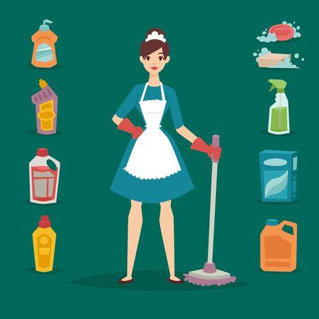 主婦女の子主婦美少女洗浄洗剤家事製品機器をクリーニングします。  イラスト・ベクター素材