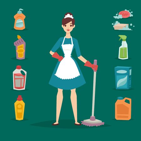 Housewife girl homemaker cleaning pretty girl wash cleanser housework product equipment.