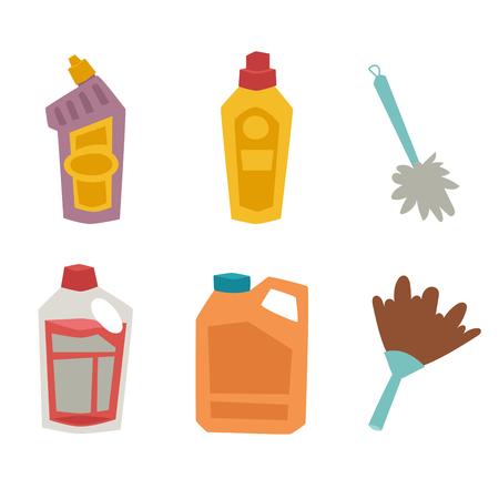dishwashing liquid: Cleanser bottle housework product care wash equipment cleaning liquid flat illustration.
