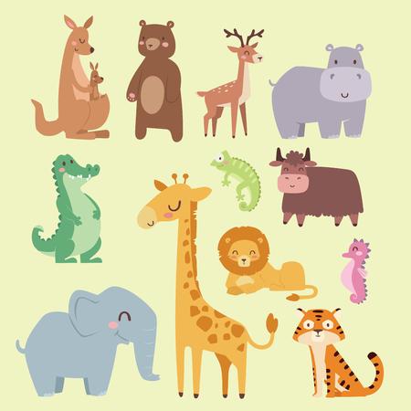 Animales de dibujos animados de zoológico lindo aislados divertida de la vida silvestre aprender lenguaje lindo y naturaleza tropical safari selva de mamífero personajes altos ilustración vectorial. Ilustración de vector