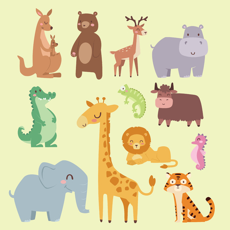 Cute zoo cartoon animals isolated funny wildlife learn cute language and tropical nature safari mammal jungle tall characters vector illustration. Illustration