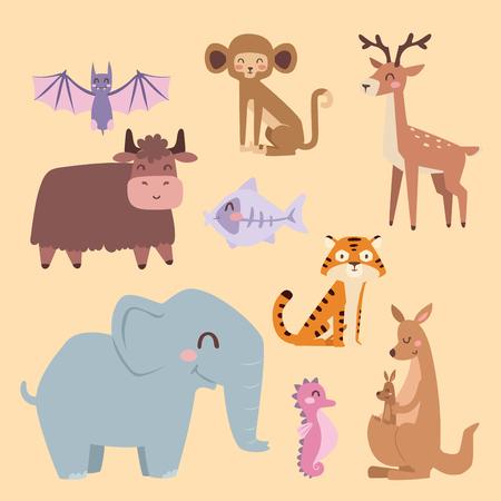 かわいい動物園漫画動物分離面白い野生動物がかわいい言語を学ぶし、熱帯の自然サファリ哺乳類ジャングル背の高い文字ベクトル イラスト。自然