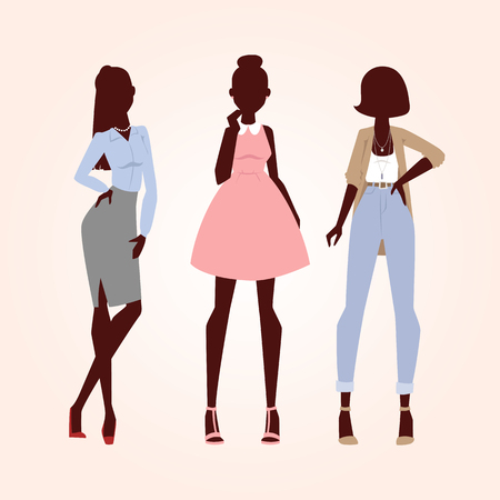Fashion models woman silhouette sketch attractive lady elegant adult character vector illustration. Stock Illustration - 79090665