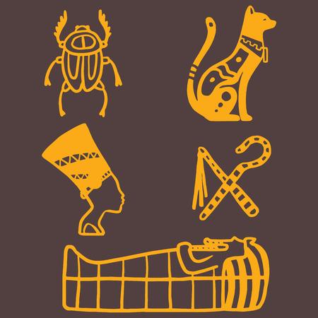 Egypte reisgeschiedenis iconen en sybols handgetekend ontwerp traditionele hiëroglief vectorillustratie stijl farao piramide. Archeologie teken antiek oud monument amulet mythologie decor.