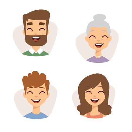 Vector stel mooie lachende emoticons gezicht van mensen angst avatars. Set van cartoon menselijk hoofd persoon expressie karakter verschillende geslachten vrolijke lach groep jonge emoji portret. Stock Illustratie