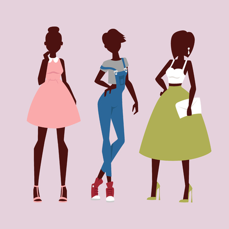 Fashion models woman silhouette sketch attractive clothing lady elegant adult character vector illustration. Sensual figure fashionable glamour beauty people.