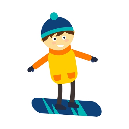 Christmas boy snowboarding playing winter game happy leisure vector illustration. Cartoon new year holidays funny lifestyle. Snow boarding down person extreme outdoor recreation.