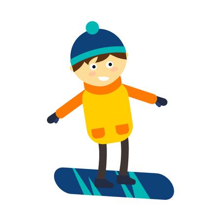 Weihnachtsjunge Snowboarding, der glückliche Freizeitvektorillustration des Winterspiels spielt. Lustiger Lebensstil des neuen Jahres der Karikatur Feiertage. Snowboarding unten Person extreme Erholung im Freien.
