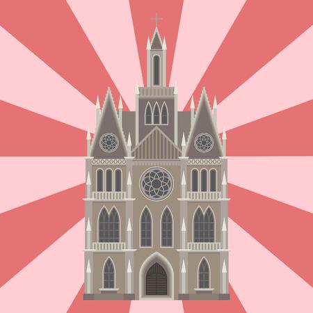 catholicism: Cathedral catholic church temple traditional building landmark tourism vector illustration