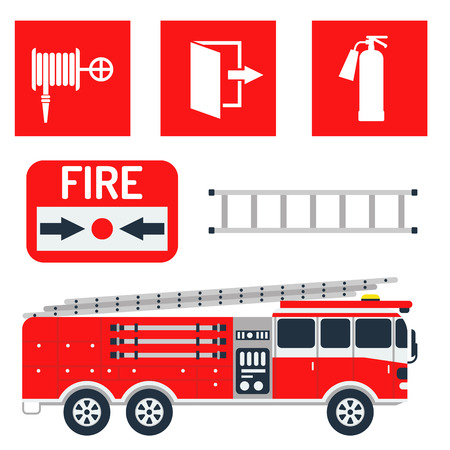 safe water: Fire safety equipment emergency icons firefighter symbols safe danger accident flame protection vector illustration. Hazard warning caution tool firefighting tools.