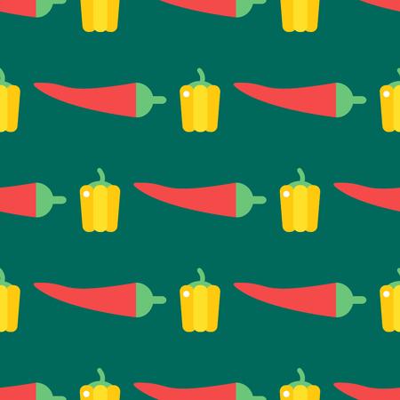 Red chili pepper healthy plant seamless pattern vintage illustration food vegetable background Ilustração