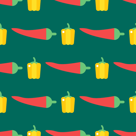 Red chili pepper healthy plant seamless pattern vintage illustration food vegetable background Illustration