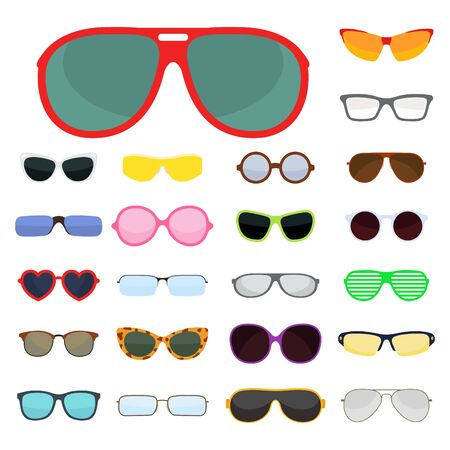 eyewear fashion: Fashion set sunglasses accessory sun spectacles plastic frame modern eyeglasses vector illustration. Stock Photo