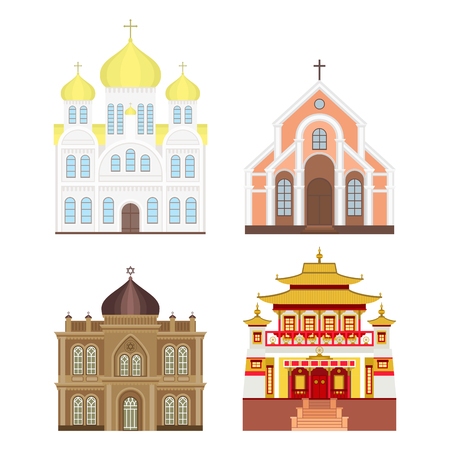 place of worship: Cathedral church temple traditional building landmark tourism vector illustration