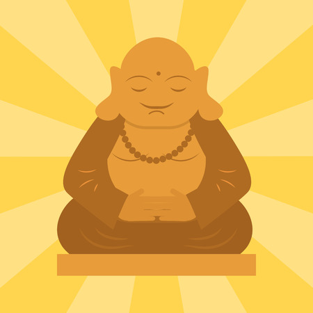 Budda statue from thailand harmony budha culture spiritual meditation sculpture vector illustration