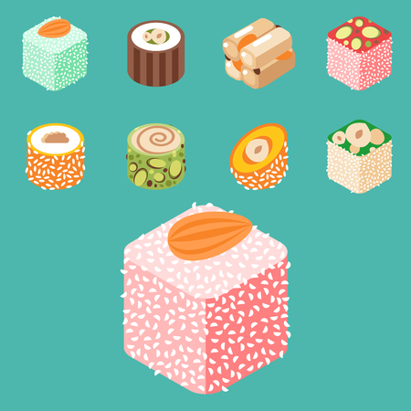 Collection of east delicious dessert isolated sweets food confectionery homemade assortment vector illustration. Chocolate cake tasty bakery homemade decoration turkish assortment. Illustration