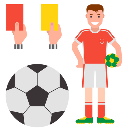 Football soccer icons player trophy competition game score win play flat design sport vector illustration Illustration