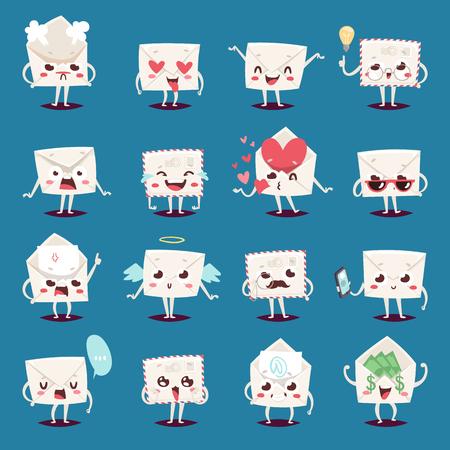 Enveloppe message emojji caractère émotions face à l'illustration vectorielle