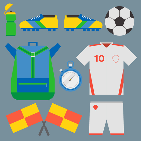 soccer goal: Football soccer icons player trophy competition web game team score win play flat design sport. Referee championship stadium tournament symbols. Illustration