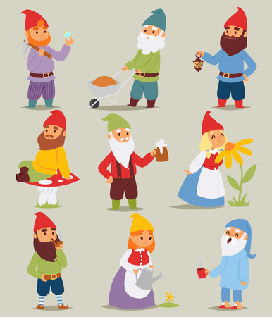 Gnome garden set funny little characters cute fairy tale dwarf man and woman in cap cartoon.